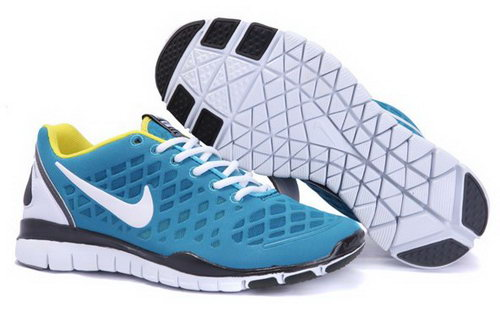 2012 Nike Free Run Tr Fit Men Shoes Blue White Cheap