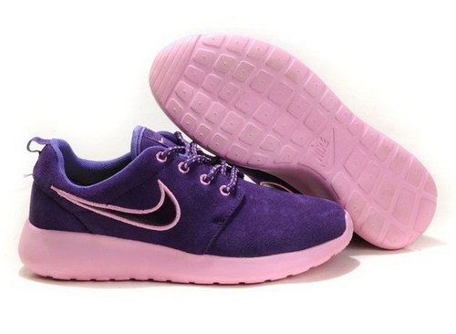 2013 New Nike Wmns Roshe Running Shoes Wool Skin Comfort Casual Purple Discount