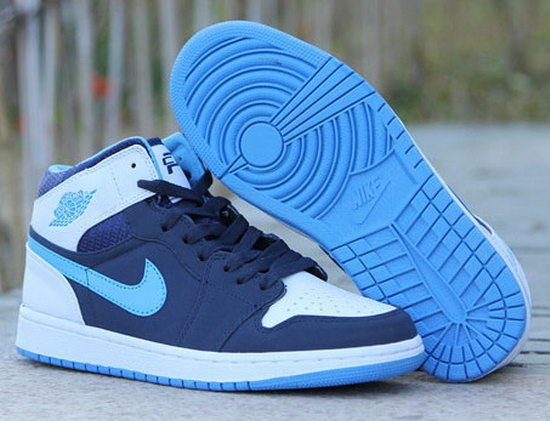 Air Jordan Retro 1 Dark Blue White Jade Reduced