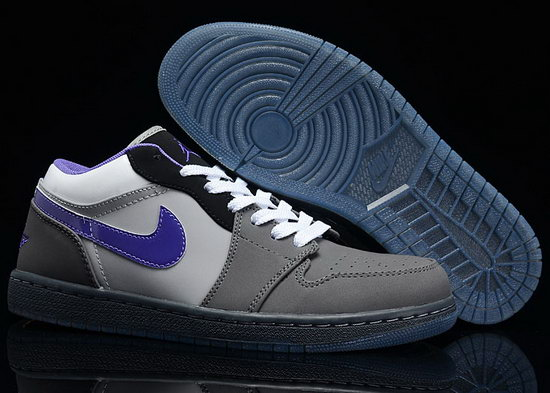 Air Jordan Retro 1 Low Grey White Purple Low Price