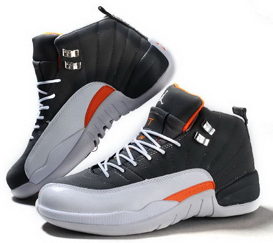 Air Jordan Retro 12 Carbon Grey White Orange Factory