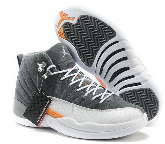 Air Jordan Retro 12 Grey White Orange Sm Uk