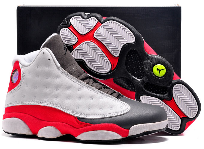 Air Jordan Retro 13 White Dark Grey Red Outlet Store