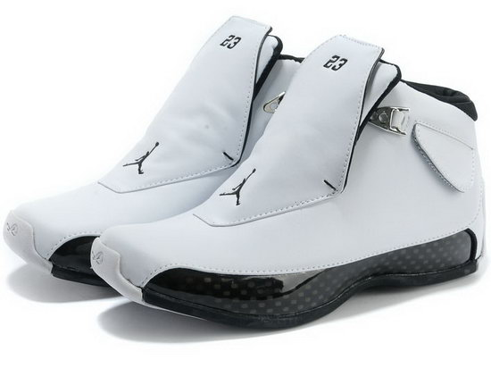 Air Jordan Retro 18 White Black Reduced