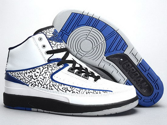 Air Jordan Retro 2 White Black Blue New Zealand