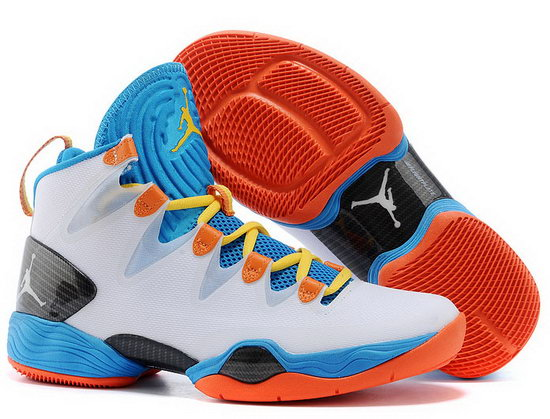 Air Jordan Retro 28 White Blue Orange Online Store