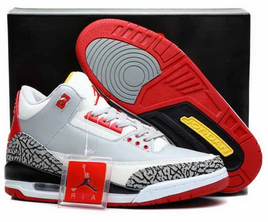 Air Jordan Retro 3 White Grey Red Leopard Wholesale