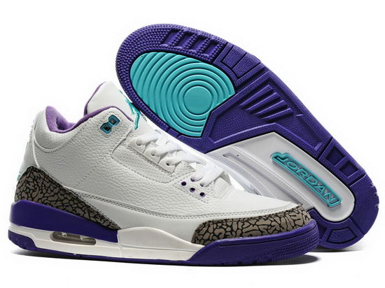 Air Jordan Retro 3 White Purple Jade Leopard Sale