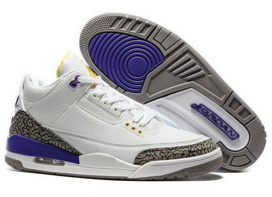 Air Jordan Retro 3 White Purple Leopard For Sale