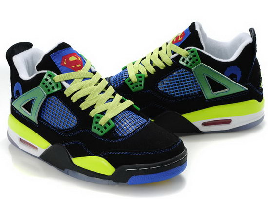 Air Jordan Retro 4 Black Blue Green Spain