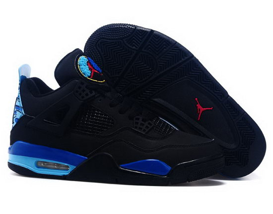 Air Jordan Retro 4 Black Blue Factory Outlet