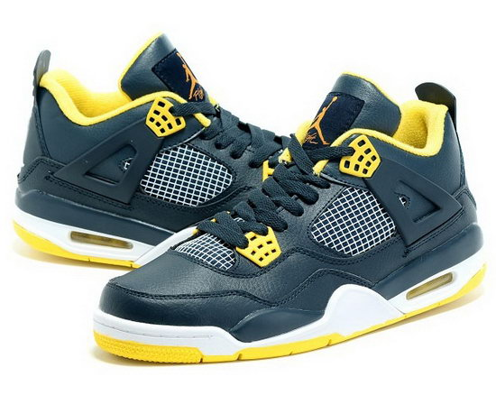 Air Jordan Retro 4 Navy Green Yellow Korea