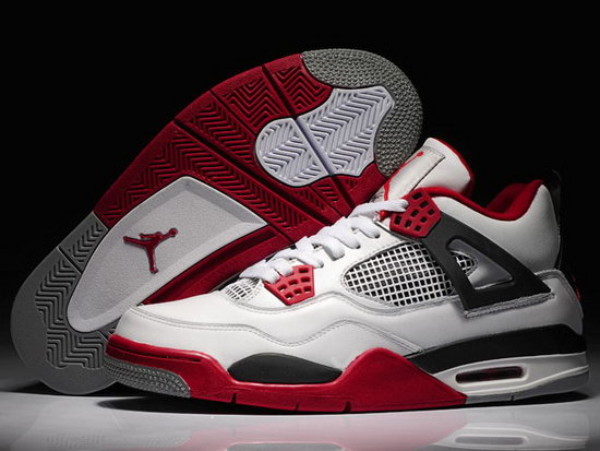 Air Jordan Retro 4 White Black Red Outlet