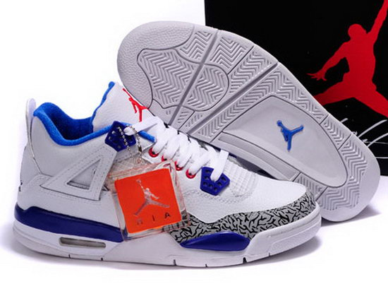 Air Jordan Retro 4 White Blue Grey Leopard Denmark