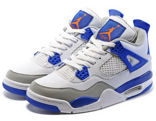 Air Jordan Retro 4 White Blue Grey