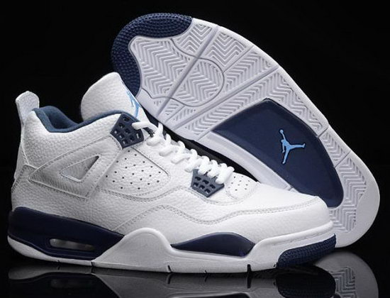 Air Jordan Retro 4 White Dark Blue Outlet Online
