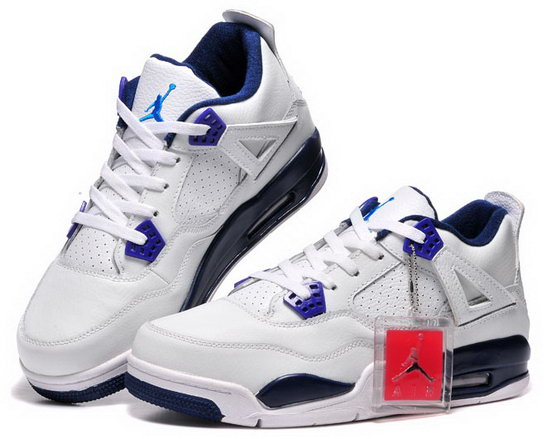 Air Jordan Retro 4 White Purple Dark Blue Reduced