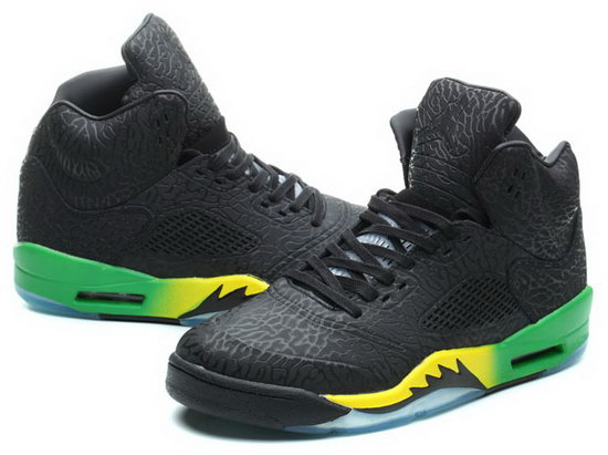 Air Jordan Retro 5 Black Burst Crack Green Yellow Factory Store