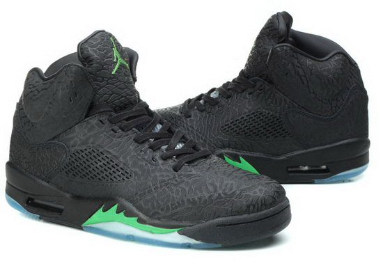 Air Jordan Retro 5 Black Burst Crack Green Outlet Online
