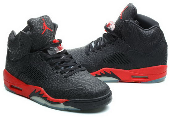 Air Jordan Retro 5 Black Burst Crack Red China