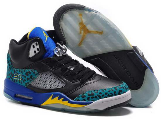 Air Jordan Retro 5 Black Green Blue Yellow Hong Kong