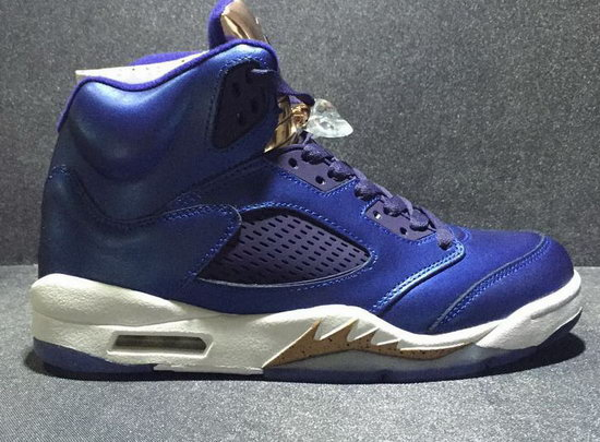 Air Jordan Retro 5 Blue Gold Factory