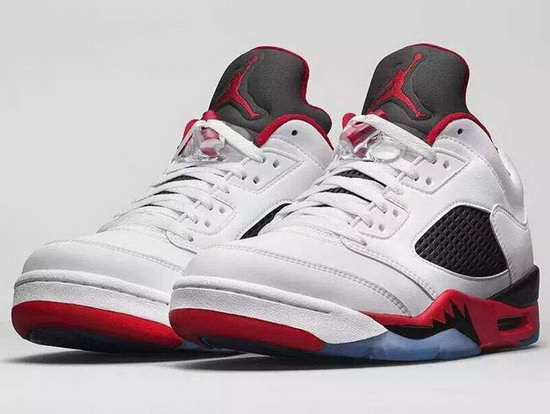 Air Jordan Retro 5 Low White Red For Sale