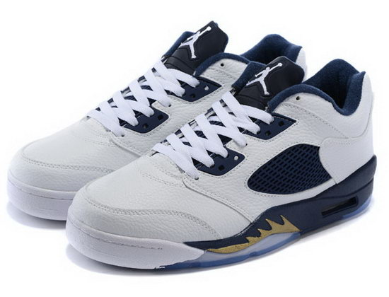Air Jordan Retro 5 Low White Dark Blue Closeout