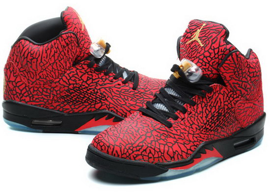 Air Jordan Retro 5 Red Burst Crack Red Outlet