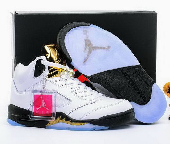Air Jordan Retro 5 White Black Gold Discount