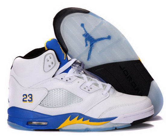 Air Jordan Retro 5 White Blue Yellow