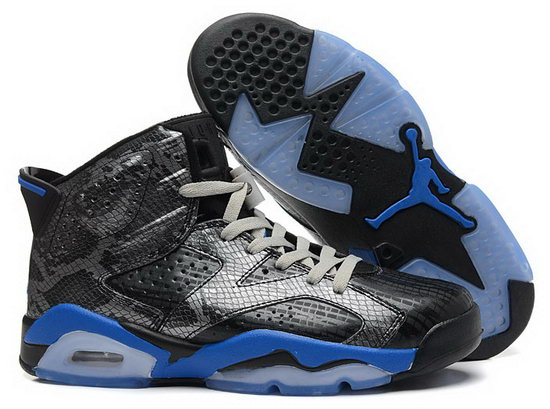 Air Jordan Retro 6 Black Silver Blue Low Price