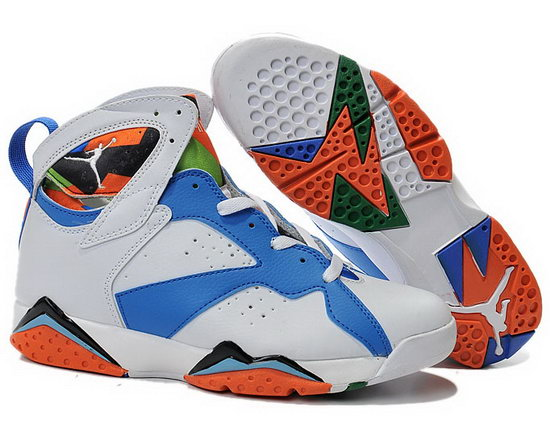Air Jordan Retro 7 White Blue Orange Inexpensive