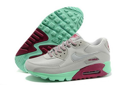 Air Max 90 Womenss Shoes Light Gray Green Red Reduced