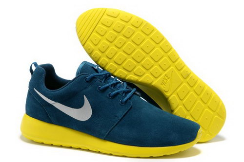 Hot Sale Nike Roshe Mens Running Shoes Wool Skin Online Blue Yellow Promo Code