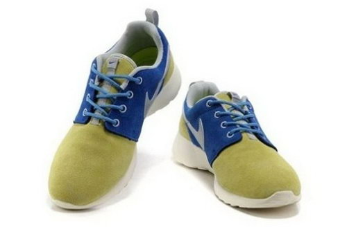 Hot Sell Online Popular Nike Roshe Run Womenss Shoes Grey Blue White Inexpensive