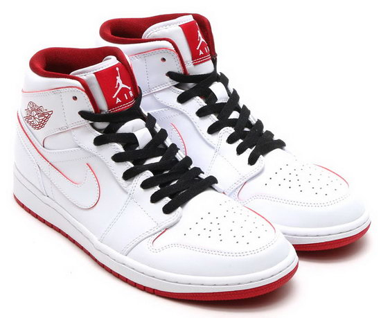 Mens & Womens (unisex) Air Jordan Retro 1 Mid White Red Uk