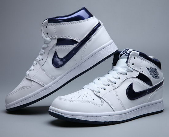 Mens & Womens (unisex) Air Jordan Retro 1 White Dark Blue Online Store