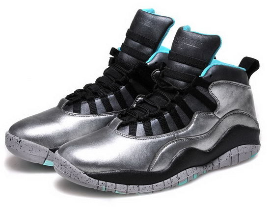 Mens & Womens (unisex) Air Jordan Retro 10 Silver Black Jade Portugal