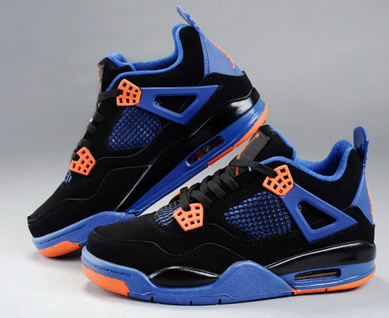 Mens & Womens (unisex) Air Jordan Retro 4 Black Blue Orange Outlet