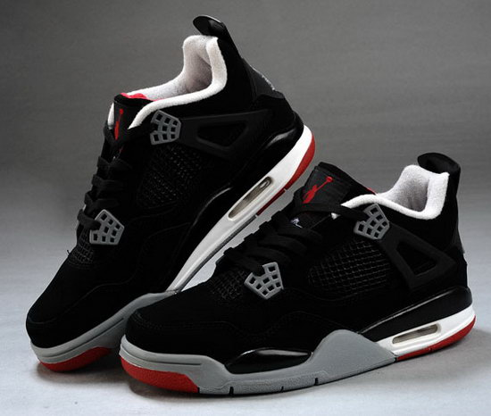 Mens & Womens (unisex) Air Jordan Retro 4 Black Red Denmark