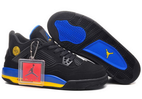 Mens & Womens (unisex) Air Jordan Retro 4 Blackblue Yellow Factory Store