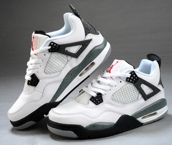 Mens & Womens (unisex) Air Jordan Retro 4 White Black Grey China