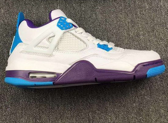 Mens & Womens (unisex) Air Jordan Retro 4 White Purple Blue On Sale
