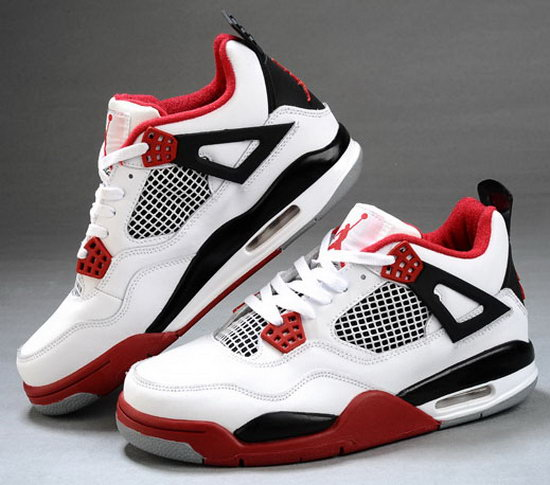 Mens & Womens (unisex) Air Jordan Retro 4 White Red Black Greece