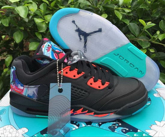 Mens & Womens (unisex) Air Jordan Retro 5 Low Black Red Kite Netherlands