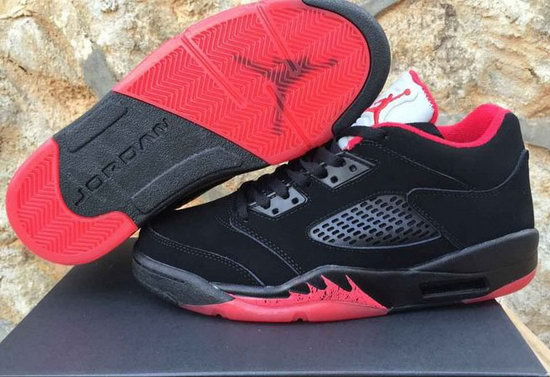 Mens & Womens (unisex) Air Jordan Retro 5 Low Black Red Low Cost