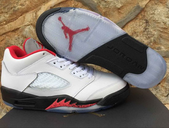 Mens & Womens (unisex) Air Jordan Retro 5 Low White Red Best Price