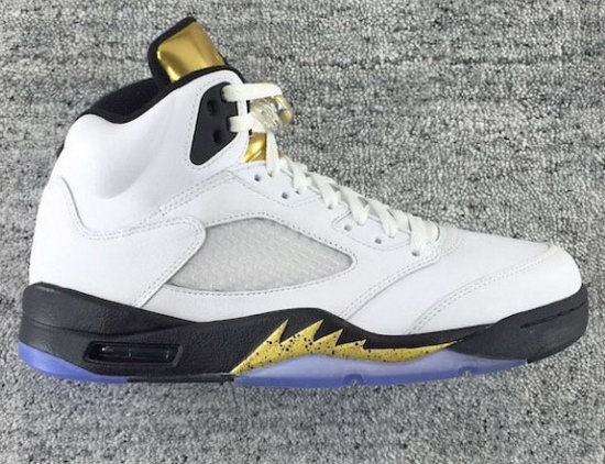 Mens & Womens (unisex) Air Jordan Retro 5 White Black Gold Discount Code