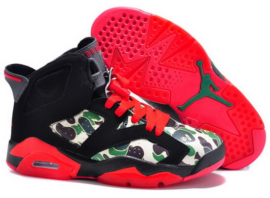 Mens & Womens (unisex) Air Jordan Retro 6 Black Red Pattern Wholesale